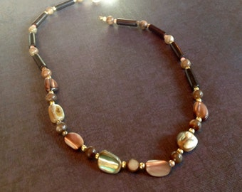 Brown Abalone And Mixed Bead Necklace