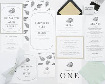 Elizabeth & Alex Wedding Invitations - Destination Wedding - Minimalist Weddings - Tropical Invitation - Palm Leaves