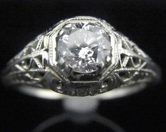 Vintage 0.60ct Diamond 14k White Gold Art Deco Engagement Ring Estate Vintage