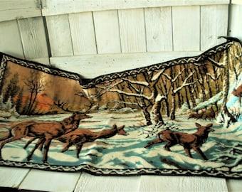Vintage rug tapestry stag elk deer snowy mountain landscape