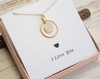 Gold Infinity Framed Rainbow Druzy Stone Necklace with I Love You Sentiment Card