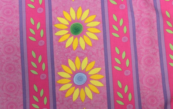 Striped Flower Fabric 100% Cotton Quilt Apparel Sewing Craft Retro 70's Fabric Sunflower Fabric Pink and Purple Fabric