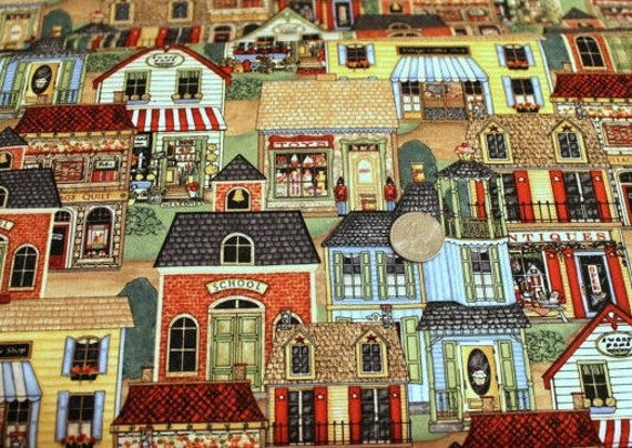 """Folk fabric,Village fabric,My Hometown fabric,South Sea Imports,100% cotton fabric,Quilt fabric,Craft fabric,END OF BOLT 29."""" x 44"""""""