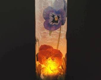 Viola candle cover.  1 large size, includes 1 free Electric Tea Light.  Garden lighting.  Backyard decor. Battery tea lights.  LED lighting.