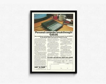 Geeky Gift Ideas • Personal Computer Sinclair ZX81 Basic Computer Ad • Frameable Tech Ad • 80s Computer Graphics • Great Gift Ideas for Him