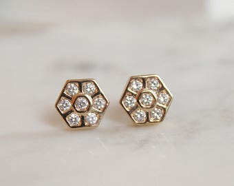 Hexagon Stud Earrings - White Topaz Earrings - Gold Hexagon Earrings - Small Stud Earrings - Bridesmaids Earrings
