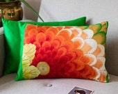 Oriental Pillow, Red Silk Embroidery Cushion, Flower Burst Green Silk, Upcycled Japanese Vintage Obi, Kiku Kiri Asian Design Metallic Gold