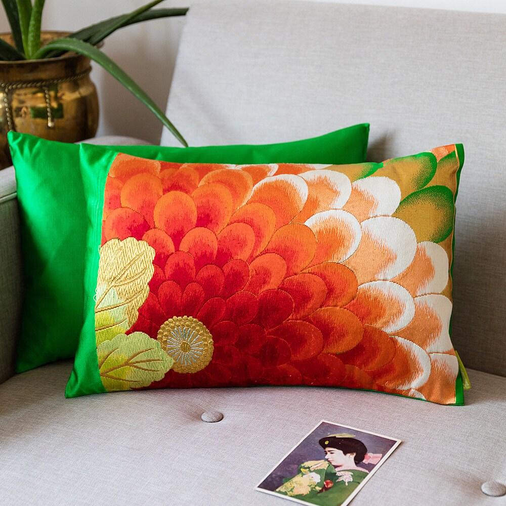 Oriental Design Throw Pillows : Oriental Pillow Red Silk Embroidery Cushion Flower Burst