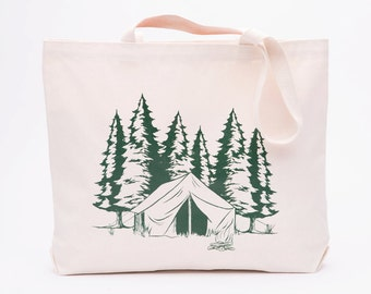 Camping Large Canvas Shopper Tote - Reusable Grocery Tote Bag - Outdoorsy Canvas Tote Bag - Screen Printed Cotton Grocery Bag - Camping