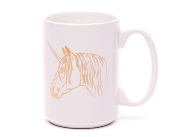 Unicorn Mug - Coffee Mug - Gold Metallic - Unicorn Coffee Mug - Ceramic Mug - Funny Mug - Unicorn Lover - Gift for Friend