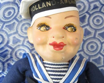 Vintage 1930 Norah Wellings Holland America Line Sailor Doll - Very Good Condition
