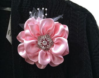 Pink Satin Fabric Flower Brooch, Carnation Pink Flower, Flower Brooch, Satin Flower Pin, Women's Accessory, Flower Pin, Pink Satin Flower