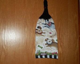 Crochet Hand Towel- Running Dog Theme
