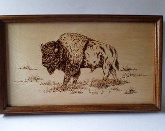 Buffalo wood burning , pyrography, western decor, wood wall art,
