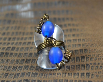 Size 7 Ring:  Blue Beads on Chocolate Wire
