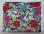 """Pipe Pouch, Bold Floral Bag, Glass Pipe Case, Pipe Bag, Zipper Bag, Padded Pipe Pouch, Stoner, Hippie Bag, Gadget Bag, 7.5"""" x 6"""" - X LARGE"""