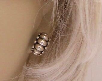 Vintage Sterling Silver Half Hoop Earrings Ornate Elegant Pierced