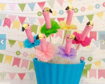 Pink Flamingo Cupcake Topper/ Tropical Party
