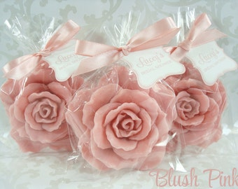 10 Rose Soap Favors - Choose Color - Rose Soaps for Weddings and Showers