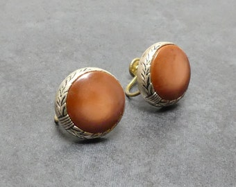 Vintage Early Century Caramel Brown Stoned Etched Silvertoned Srew on Earrings
