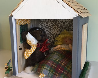 "GOLDIE and the BEAR ""Whose sleeping in my bed?"" Room Box Needle Felted Handmade"
