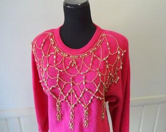 Vintage Christine Gerard Gold Beaded Cotton Blend Sweater 1980s