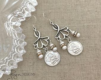 Sterling Silver Dangle Earrings, Silver Angel Earrings, Silver Cherub Earrings, Pearl Earrings, Handmade Jewelry Earrings