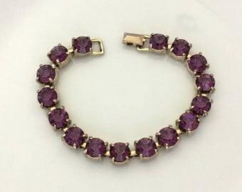 Vintage Rhinestone Tennis Bracelet - Purple Rhinestone Bracelet - Rhinestone Womens Bracelet - 1960s Jewelry Bracelet - Costume Jewelry