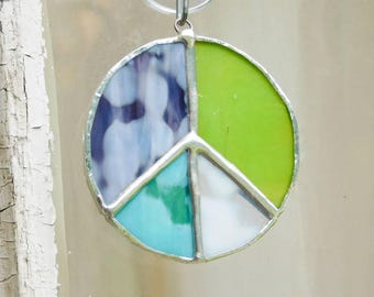 Patchwork Peace Sign Stained Glass Suncatcher Hippie Boho Bohemian Style Decor Lead Free