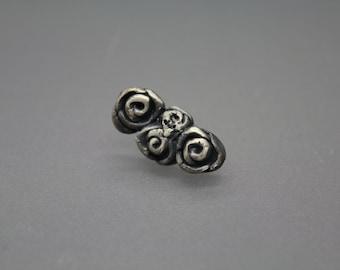 Ear Cuff, Cartilage Earring, Single Earring, Flower Earring, Silver Flower Earring, Silver Rose Earring, Rose Jewelry, Ear Climber, RTS