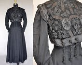 Antique Edwardian Black Cotton and Silk Walking Dress Lace Bodice with Toggles High Neck Full Skirt
