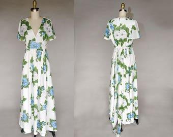 Vintage 70s Long White Maxi Blue Floral Dress Flutter Sleeves, Belted Full Skirt
