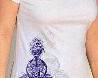 Purple Lotus Yoga Ladies Organic T-shirt  white