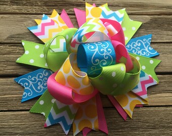 Funky spring hair bow , funky Easter hair bow , beautiful hair bow , 5 inch hair bow , over the top