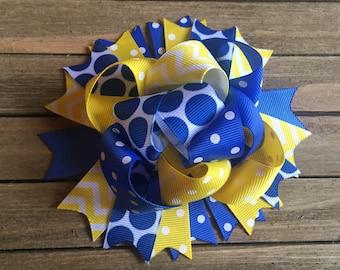 Yellow and blue funky hair bow , team hair bow , school hair bow , birthday bow , hair bow for girls
