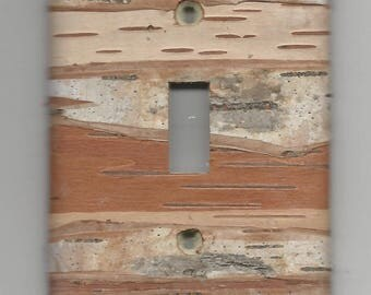 Single hole / single toggle Birch Bark covered Light switch plate