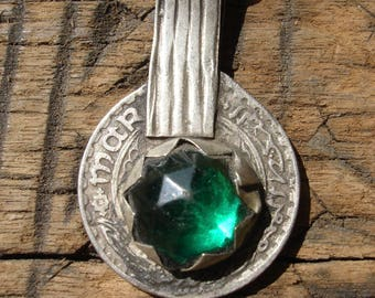 Moroccan green jewel tarnished 10 franc coin pendant with plain  loop/bail