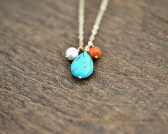 Charm Necklaces, Turquoise, Coral, freshwater Pearl Necklace, Coral Necklace, Bridesmaid Jewelry, bridesmaid Gift, Gold Turquoise