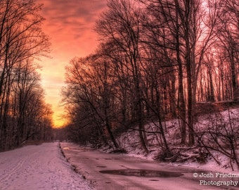 Winter Sunrise on the Delaware Canal and Towpath, Landscape Photograph, Snow, Trees, Bucks County, Pennsylvania, Yardley, Pink Sky, River