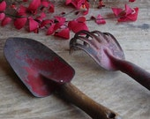 Vintage Red Garden Tools, Metal Shovel and Cultivator