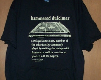 Hammered Dulcimer Definition T-Shirt XL beige on black
