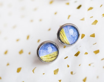 Blue Chartreuse Earrings, Blue, Chartreuse Jewelry, Blue Green Studs, Chartreuse Studs, Grass, Sky, Outdoor Earrings, gardener