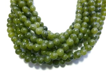 Moss Green Serpentine - 4mm Round Bead - 97 beads - Full Strand - new jade - olive - dark green natural stone