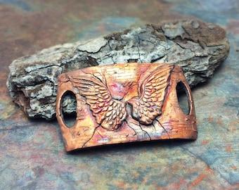 Artisan Copper Precious Metal Clay Cuff, with custom rainbow patina.