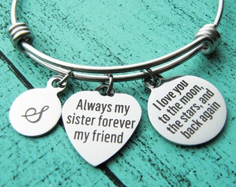 sister bracelet, sister gift, sister jewelry, I love you to the moon the stars and back, always my sister, birthday gift sister wedding gift