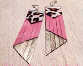 Candy pink Leather Earrings, with gold leather wings, animal print lesther,leather tassel earrings