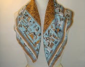 Vintage Egyptian theme Scarf Gold Blue Square
