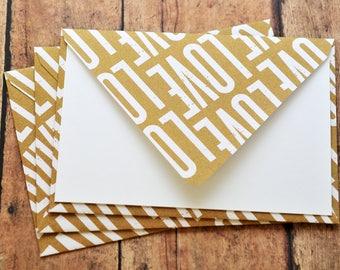 SALE-LOVE Note Cards // Set of 3 // Blank Cards // Love Letter // Valentine's Day // Love Letter // Patterned Envelope
