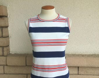 70s Tank Top Red White Blue Striped Shell Back Zip Size S-M