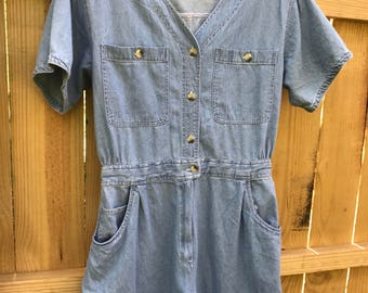 Vintage 80s Denim Romper / Size Medium Denim Romper by A/M Sport